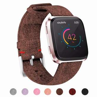 Fitbit POY For Versa Bands for Women Men, Woven Fabric Wrist Strap Adjustable Replacement Bands for Versa Fitness Smart Watch