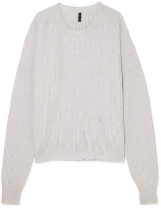 Unravel Project - Distressed Oversized Ribbed Wool And Cashmere-blend Sweater - Gray