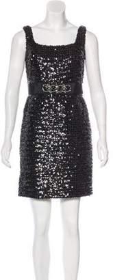 Marchesa Embellished Mini Dress Brown Embellished Mini Dress