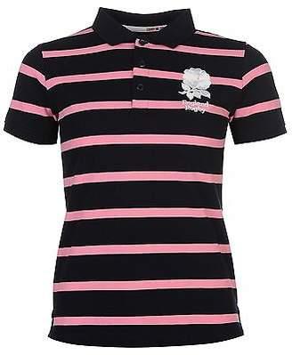 RFU Womens Eng Stripe Polo Shirt Summer Casual Short Sleeve Collar Neck Tee