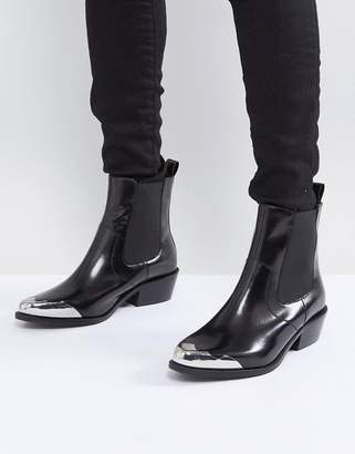 Asos AMBERLEY Leather Western Chelsea Boots
