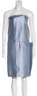 Calvin Klein Collection Pleated Midi Dress Blue Pleated Midi Dress