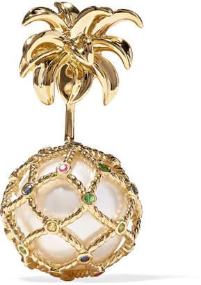 Leon Yvonne 18-karat Gold, Pearl And Sapphire Earring