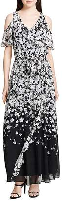 Calvin Klein Cold-Shoulder Floral-Print Maxi Dress