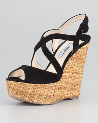 Prada Suede Crisscross Wicker Wedge Sandal, Black