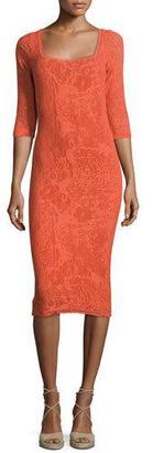 Fuzzi Square-Neck Stretch-Lace Sheath Dress, Tangerine $385 thestylecure.com