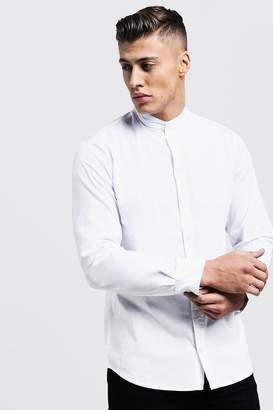 boohoo Muscle Fit Grandad Collar Long Sleeve Shirt