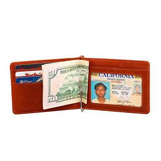 Picchio Men's Vintage Range RFID Blocking Compact Minimalist Bi-Fold Money Clip Front Pocket Wallet With ID Window