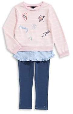 Tommy Hilfiger Little Girl's Two-Piece Stripe Tunic and Denim Legging Set