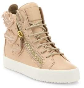 Giuseppe Zanotti Winged Leather Side-Zip Hi-Top Sneakers