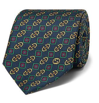 Gucci 7cm Printed Silk-Twill Tie - Men - Navy