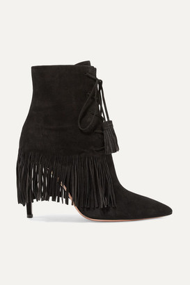 0ec4a90f092 Aquazzura Mustang 105 Fringed Suede Ankle Boots - Black