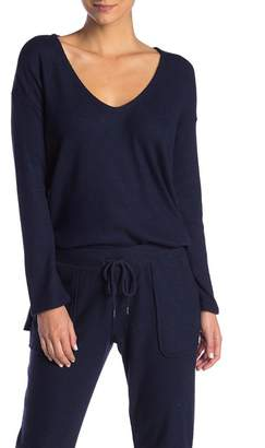 French Connection V-Neck Ribbed Knit Pullover