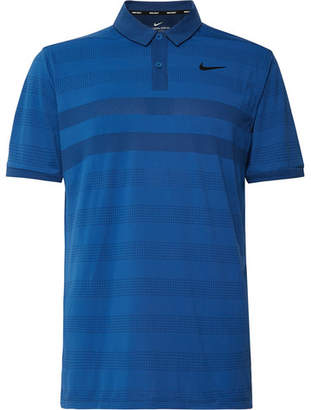 Nike Striped Zonal Cooling Jersey And Mesh Golf Polo Shirt