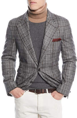 Brunello Cucinelli Men's Prince of Wales Overcheck Wool Jacket