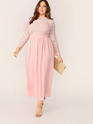 Shein Plus Guipure Lace Bodice Fit and Flare Dress
