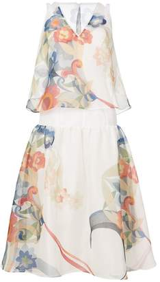 Fendi floral midi flared dress