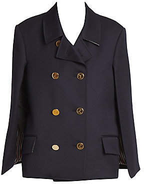 Thom Browne Women's Double Breasted Wool Cape Blazer