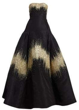 Oscar de la Renta Women's Metallic Sequin Strapless Ball Gown - Black - Size 6