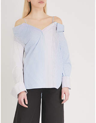 Mo&Co. Cold-shoulder striped cotton shirt