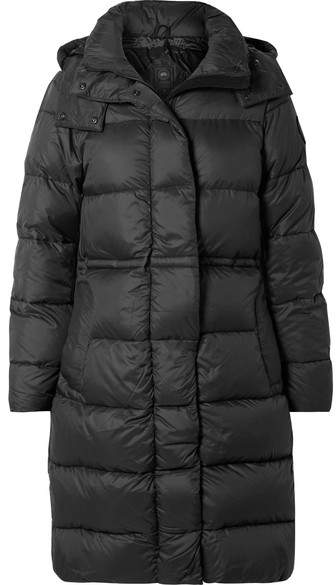 Arosa Hooded Quilted Shell Down Parka - Black