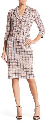 St. John Abbey Plaid Wool Blend Pencil Skirt