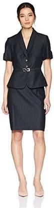 Tahari by Arthur S. Levine Women's Petite Short Sleeve Shawl Collar Buckle Trim Skirt Suit