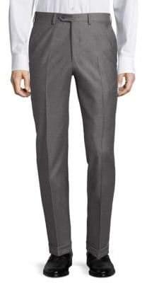 Brioni Diagonal Wool Flat Front Trousers