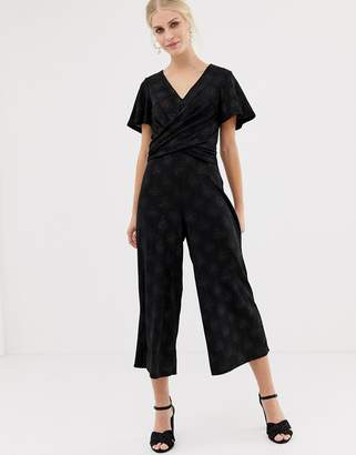 Oasis glitter jumpsuit with twist front in black