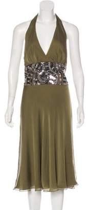 Carmen Marc Valvo Silk Halter Dress