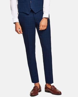 Topman Check Skinny Suit Trousers