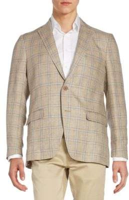 Michael Kors Regular-Fit Plaid Linen Sportcoat