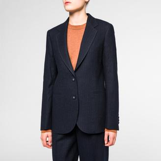Women's Navy Pinstripe Wool Blazer $595 thestylecure.com