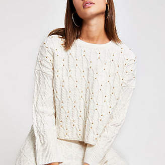 River Island Cream studded cable knit jumper