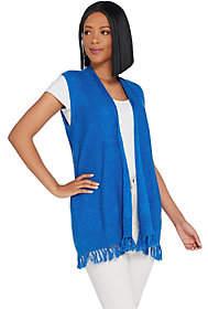 Susan Graver Linen Cotton Sweater Vest withFringe