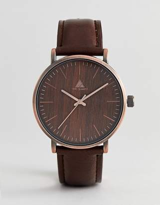 Asos Watch With Wood Effect And Brushed Copper Finish