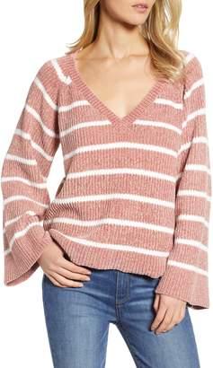&.Layered Stripe V-Neck Sweater