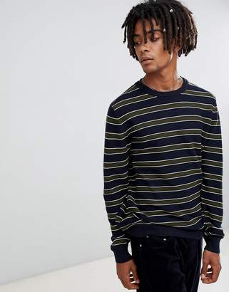 Pull&Bear Sweater In Navy With Stripes