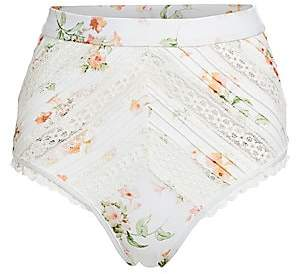 Zimmermann Women's Heathers High-Waist Floral Lace Pintuck Bikini Bottom