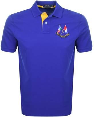 Ralph Lauren Flag Polo T Shirt Blue
