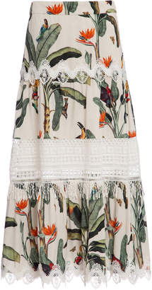 PatBO Tropical Print Lace Trim Midi Skirt