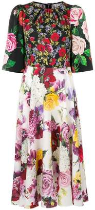 Dolce & Gabbana floral multi-print midi dress