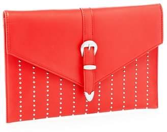 Faith Red Studded 'Penelope' Envelope Clutch Bag