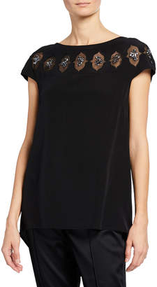 St. John Mesh Cutout Beaded Silk Blouse
