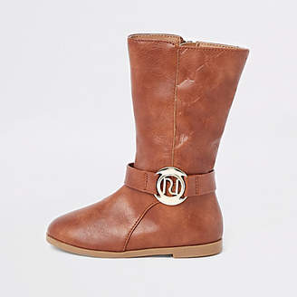 River Island Mini girls tan RI monogram calf boots