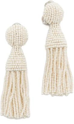 Oscar de la Renta Short Tassel Earrings $345 thestylecure.com