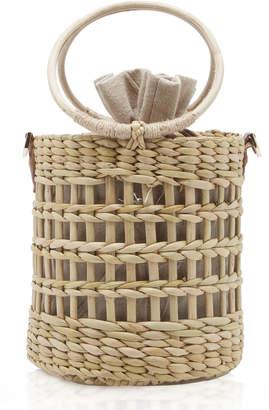 Poolside Betty Open-Weave Reed Bucket Bag