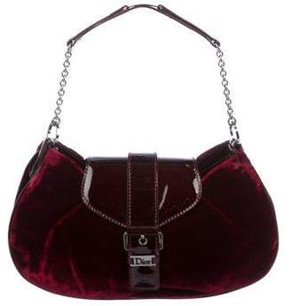 Christian Dior Patent-Leather Trimmed Velvet Bag