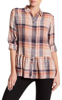 Susina Plaid Button Down Ruffle Shirt