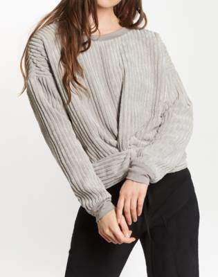 Madewell The Odells Velour Twist-Front Sweatshirt